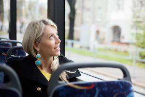 Woman traveling in public transport